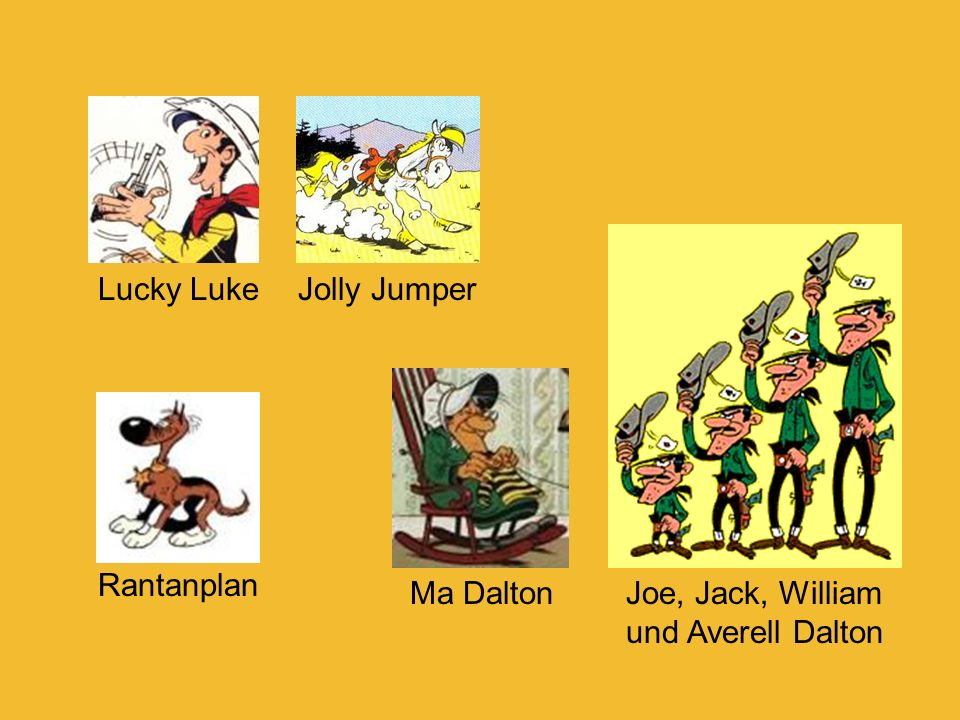 Lucky Luke Jolly Jumper Rantanplan Ma Dalton Joe, Jack, William und Averell Dalton