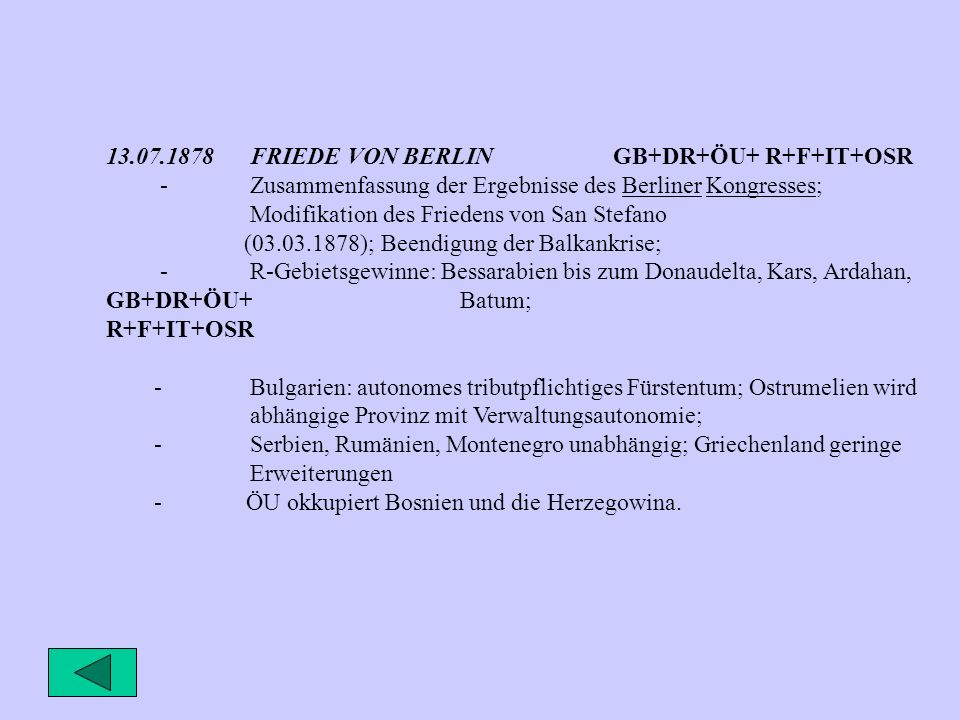 13.07.1878 FRIEDE VON BERLIN GB+DR+ÖU+ R+F+IT+OSR