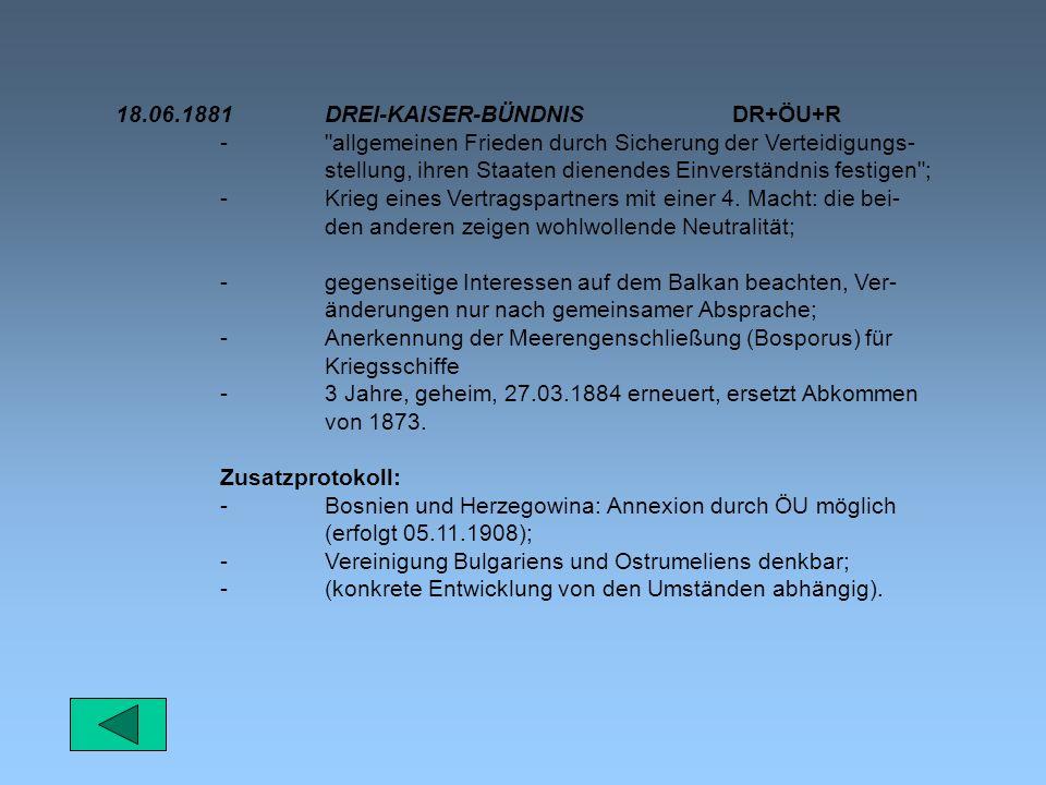 18.06.1881 DREI-KAISER-BÜNDNIS DR+ÖU+R