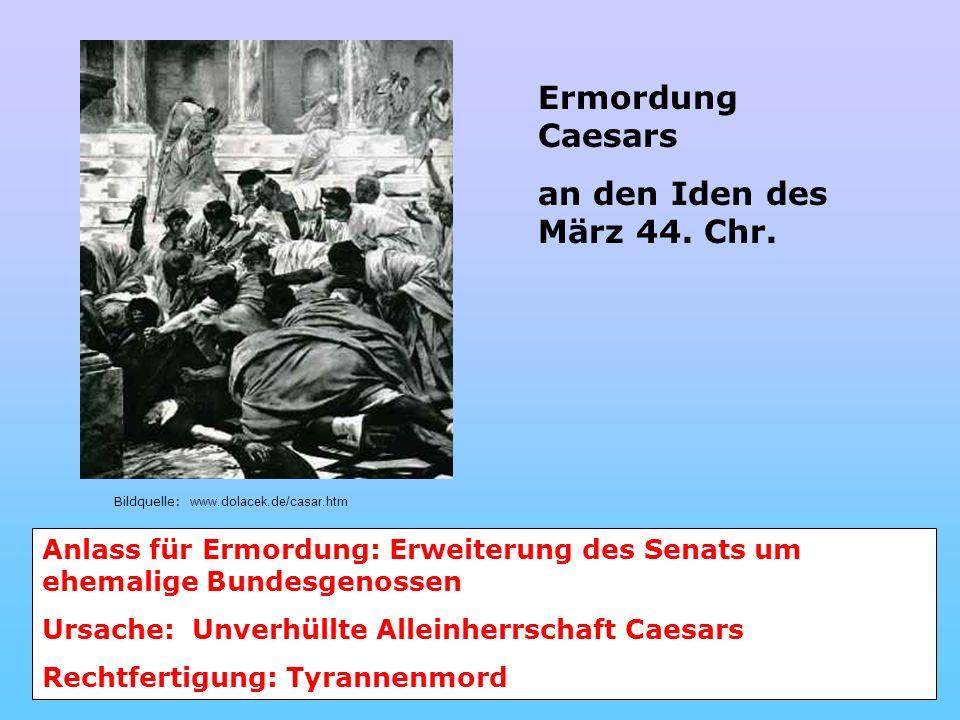 Ermordung Caesars an den Iden des März 44. Chr.