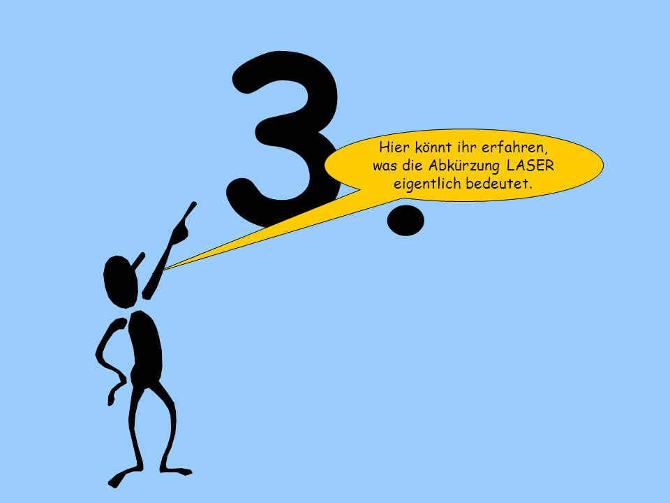 Hier könnt ihr erfahren, was die Abkürzung LASER eigentlich bedeutet.