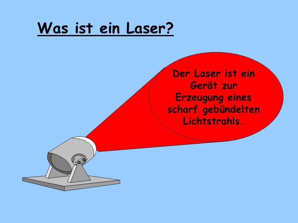 Was ist ein Laser Der Laser ist ein Gerät zur Erzeugung eines scharf gebündelten Lichtstrahls.