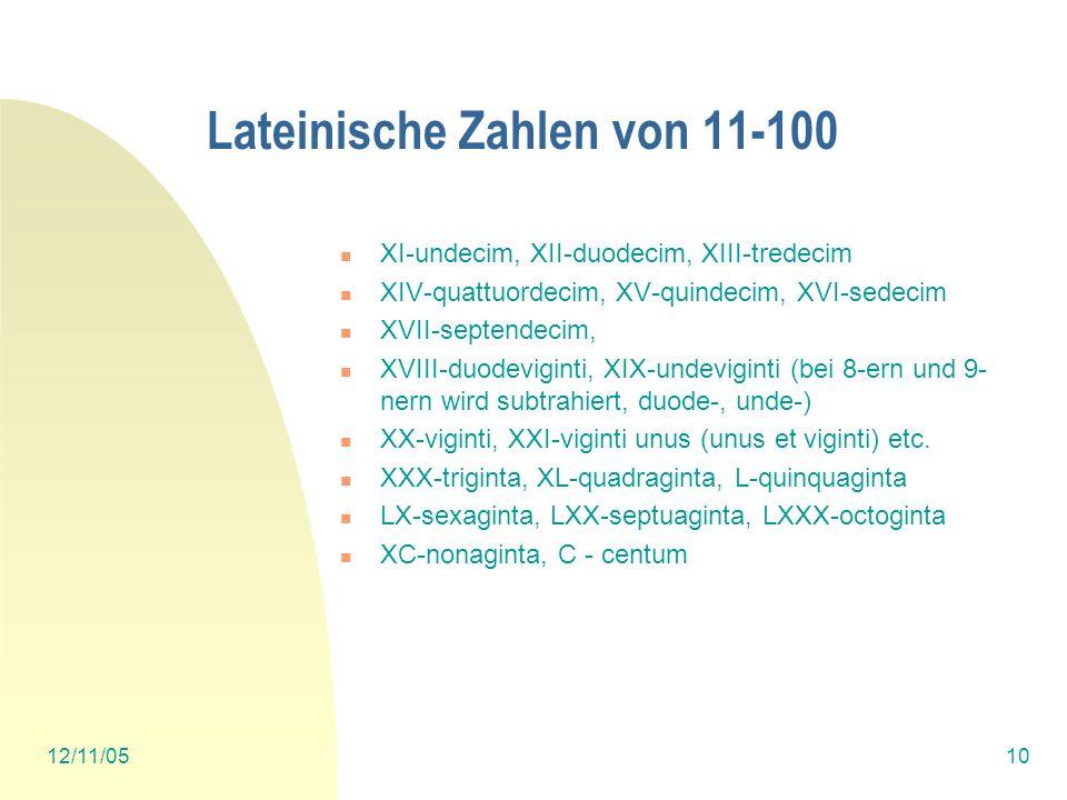 Lateinische Zahlen von 11-100