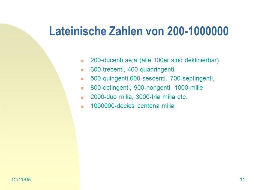 Lateinische Zahlen von 200-1000000