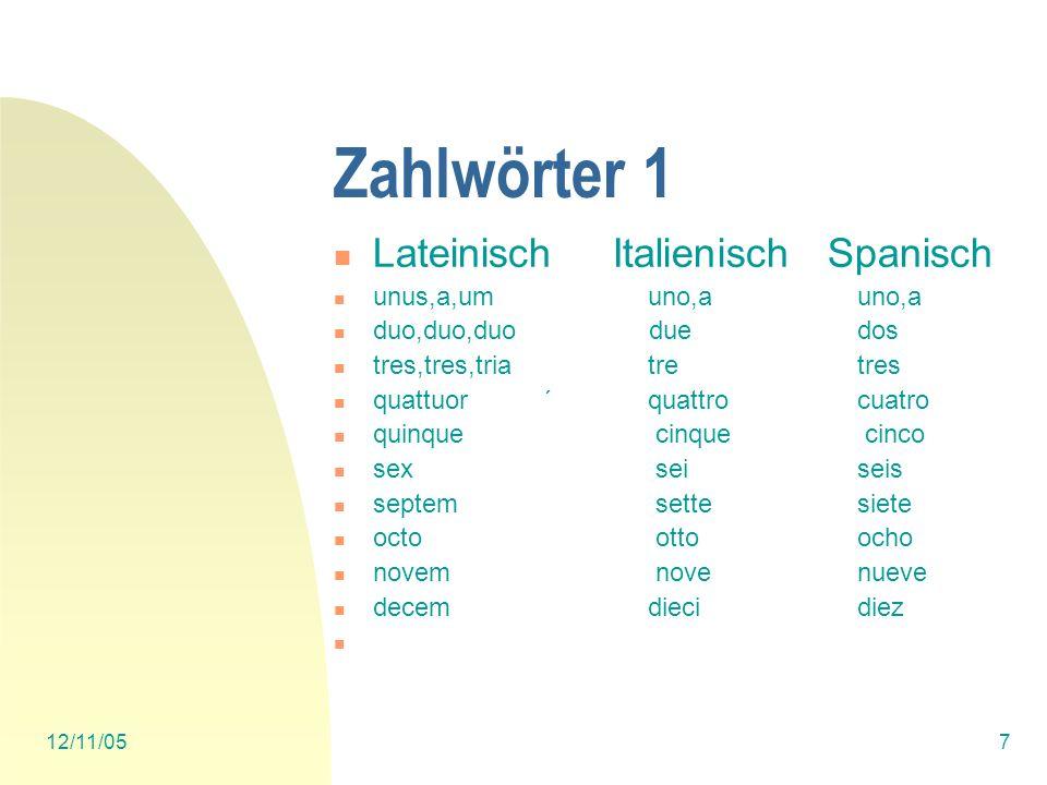 Zahlwörter 1 Lateinisch Italienisch Spanisch unus,a,um uno,a uno,a