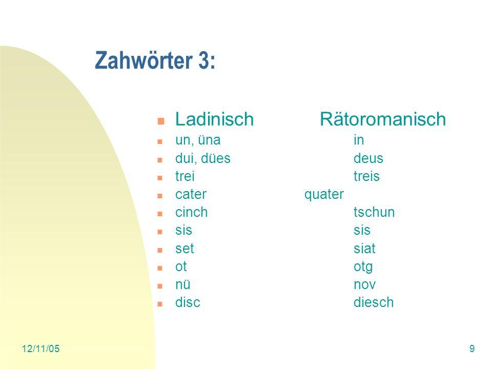 Zahwörter 3: Ladinisch Rätoromanisch un, üna in dui, dües deus