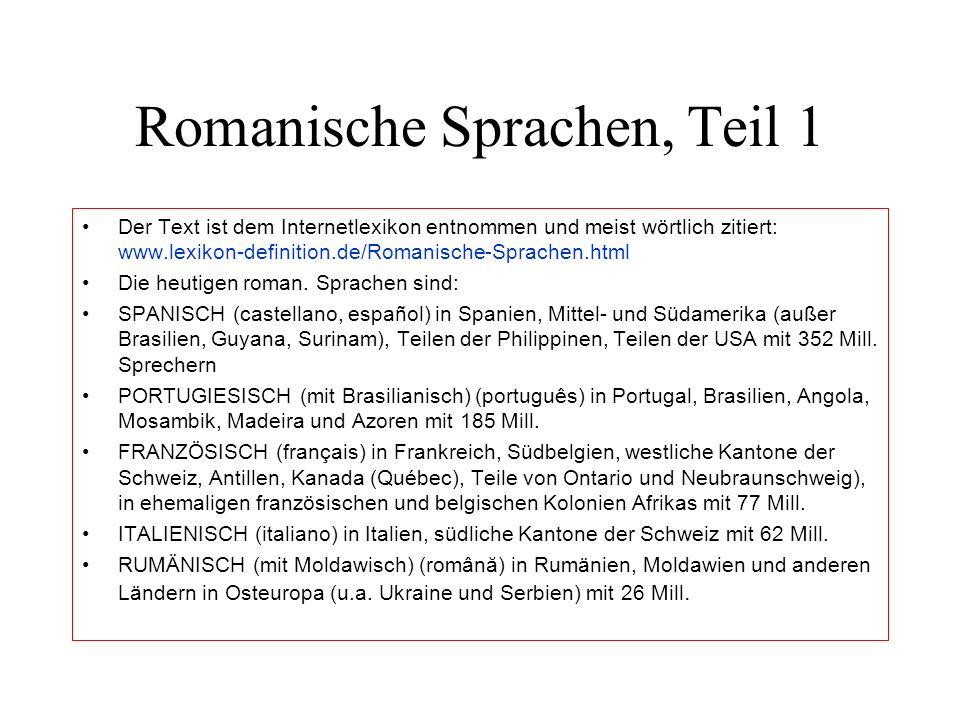 Romanische Sprachen, Teil 1