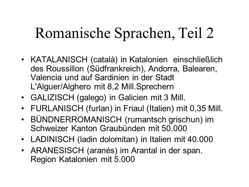 Romanische Sprachen, Teil 2