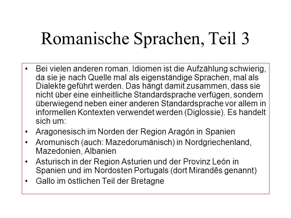 Romanische Sprachen, Teil 3