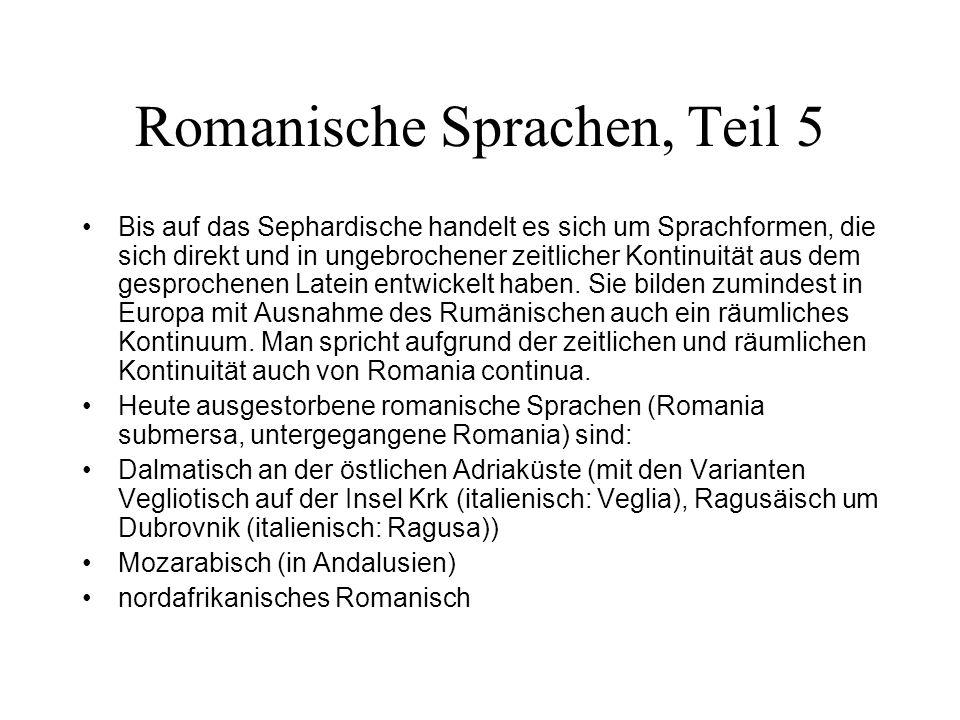 Romanische Sprachen, Teil 5