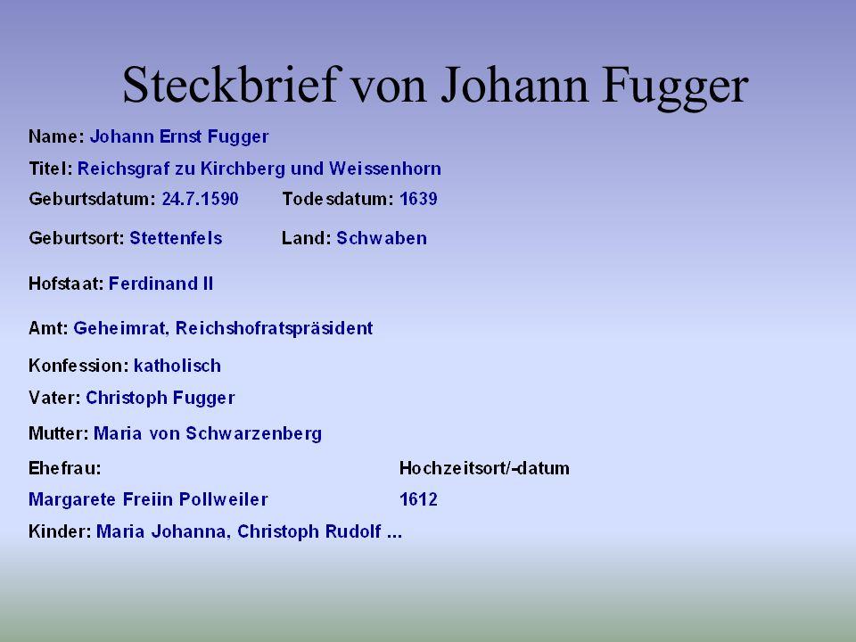 Steckbrief von Johann Fugger