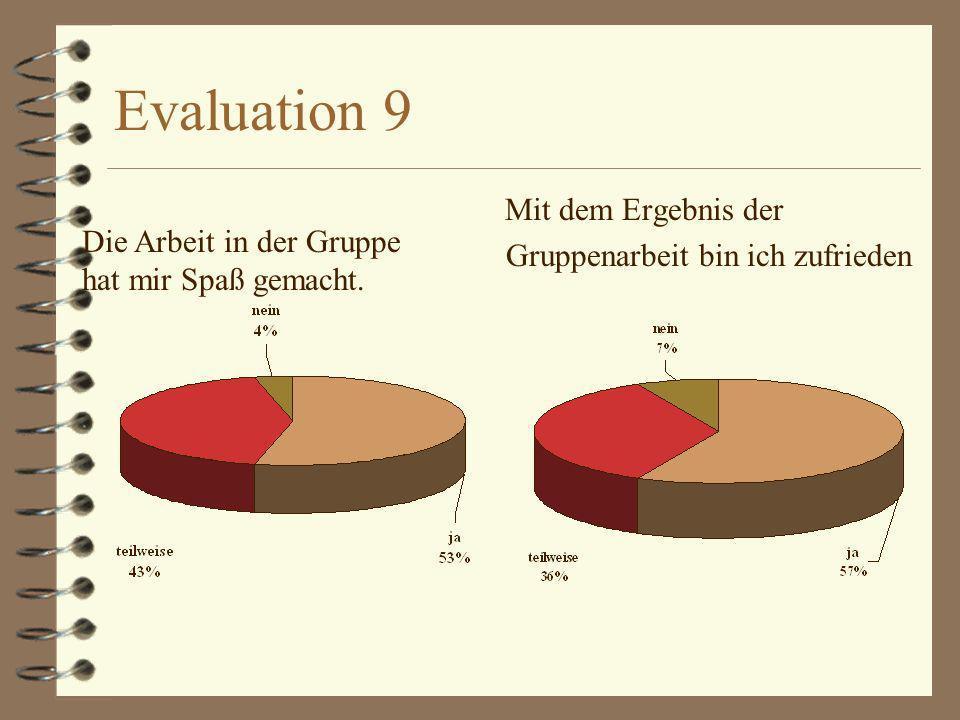 Evaluation 9 Gruppenarbeit bin ich zufrieden