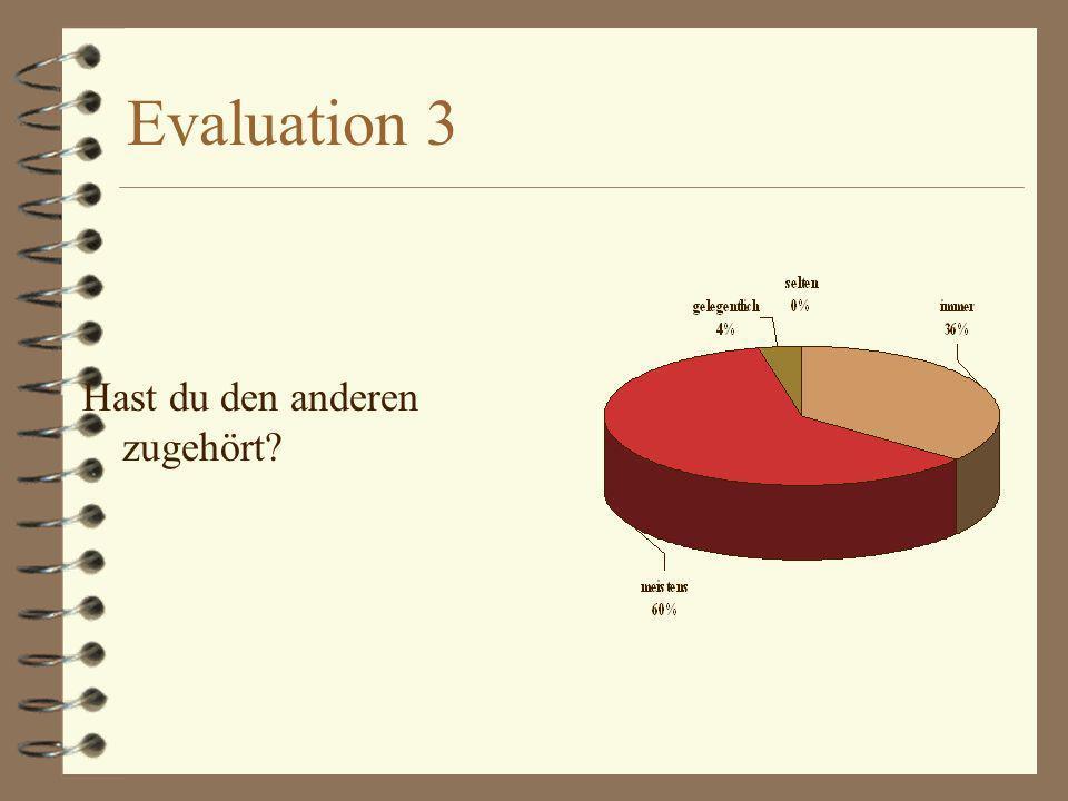 Evaluation 3 Hast du den anderen zugehört