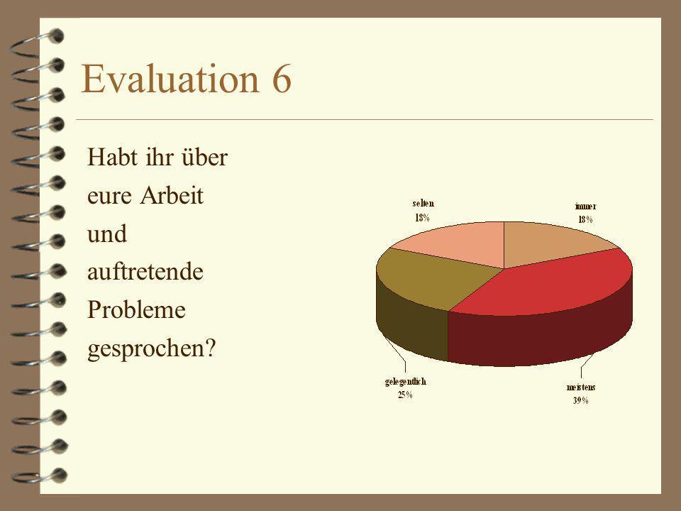 Evaluation 6 Habt ihr über eure Arbeit und auftretende Probleme