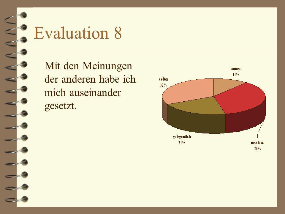 Evaluation 8 Mit den Meinungen der anderen habe ich mich auseinander gesetzt.