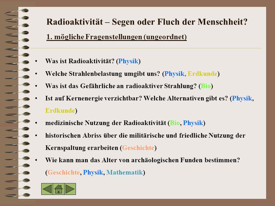 Radioaktivität – Segen oder Fluch der Menschheit. 1