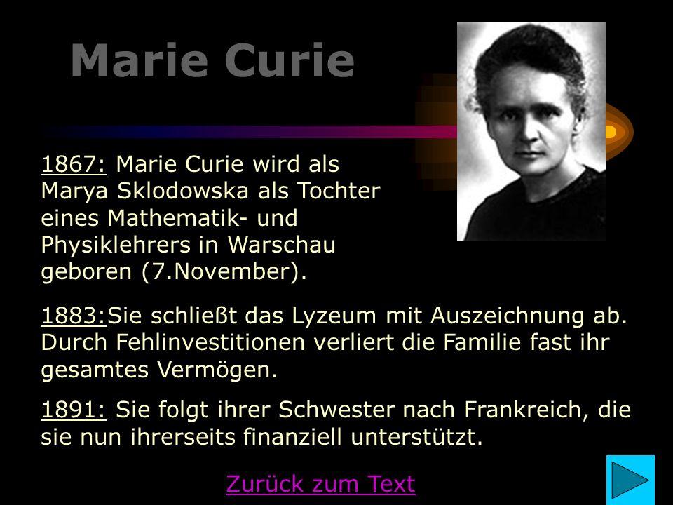 Marie Curie 1867: Marie Curie wird als Marya Sklodowska als Tochter eines Mathematik- und Physiklehrers in Warschau geboren (7.November).