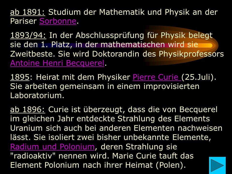 ab 1891: Studium der Mathematik und Physik an der Pariser Sorbonne.