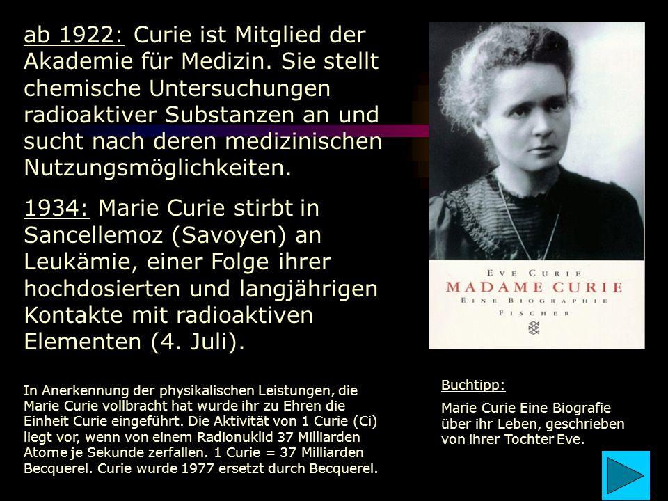 ab 1922: Curie ist Mitglied der Akademie für Medizin