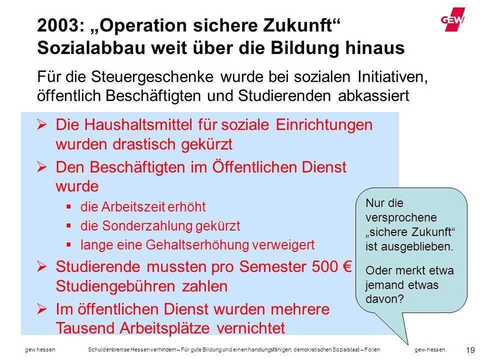 """2003: """"Operation sichere Zukunft Sozialabbau weit über die Bildung hinaus Für die Steuergeschenke wurde bei sozialen Initiativen, öffentlich Beschäftigten und Studierenden abkassiert"""