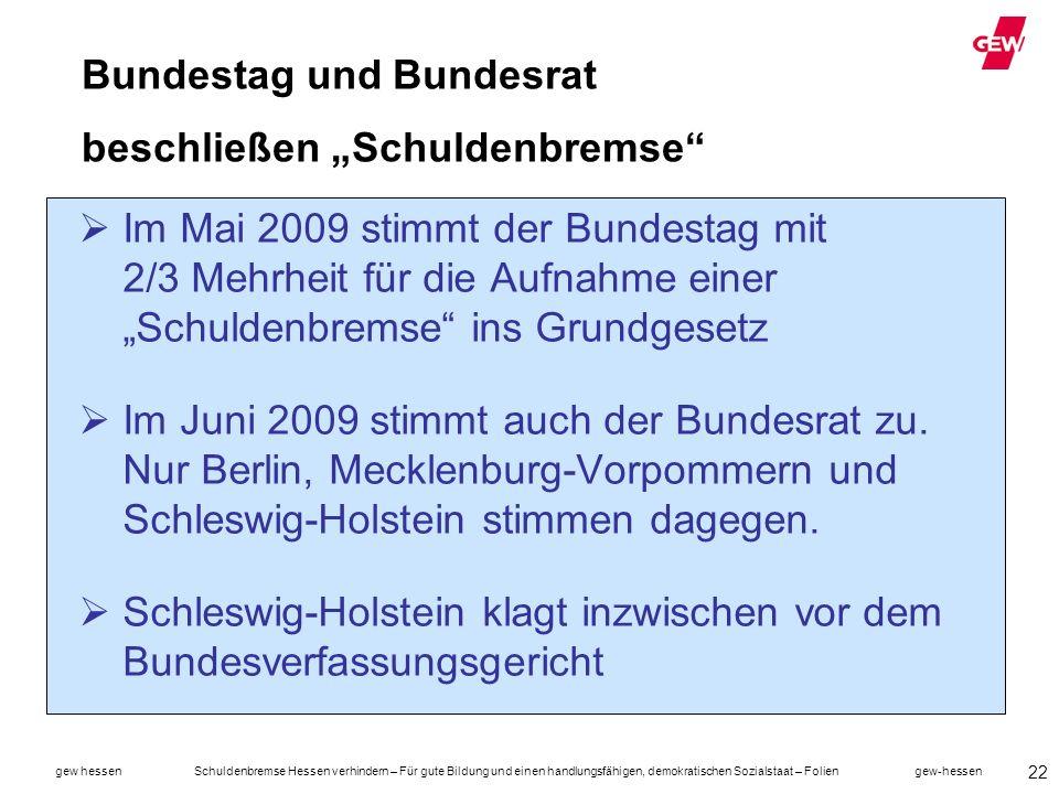 """Bundestag und Bundesrat beschließen """"Schuldenbremse"""