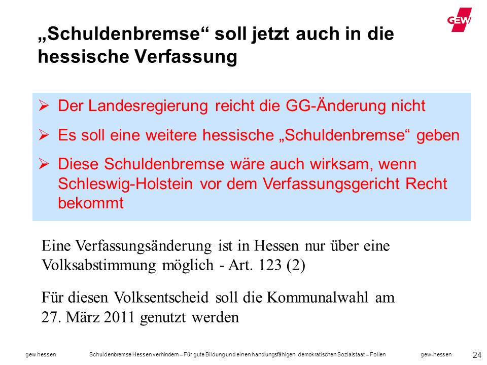 """""""Schuldenbremse soll jetzt auch in die hessische Verfassung"""