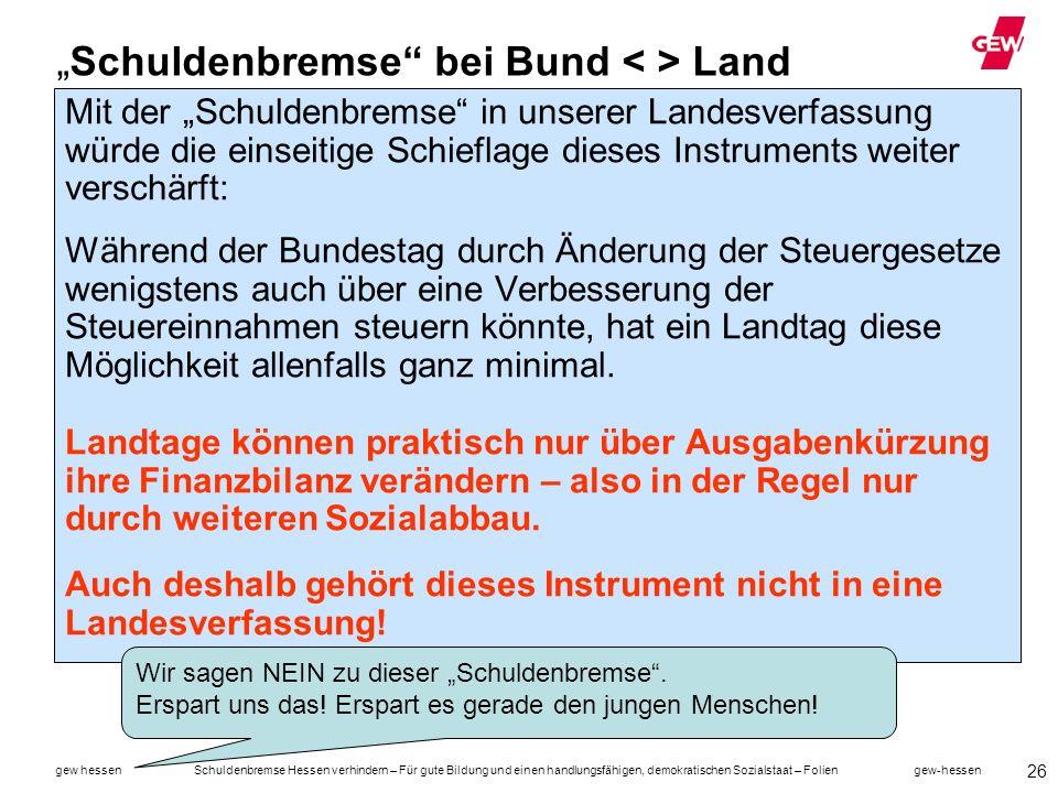"""""""Schuldenbremse bei Bund < > Land"""