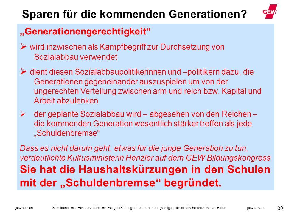 Sparen für die kommenden Generationen