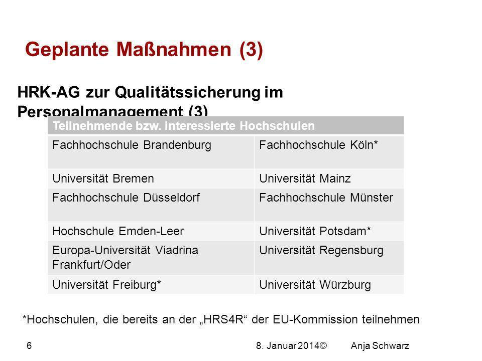 27.03.2017 Geplante Maßnahmen (3) HRK-AG zur Qualitätssicherung im Personalmanagement (3) Teilnehmende bzw. interessierte Hochschulen.