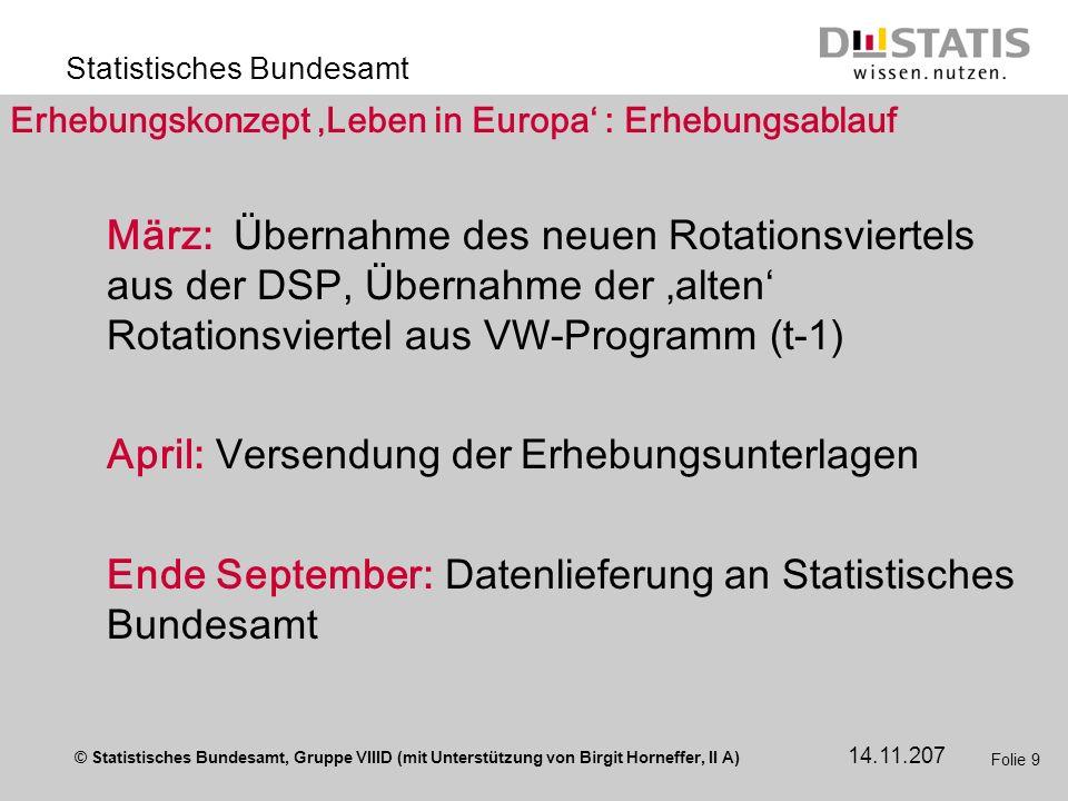 Erhebungskonzept 'Leben in Europa' : Erhebungsablauf