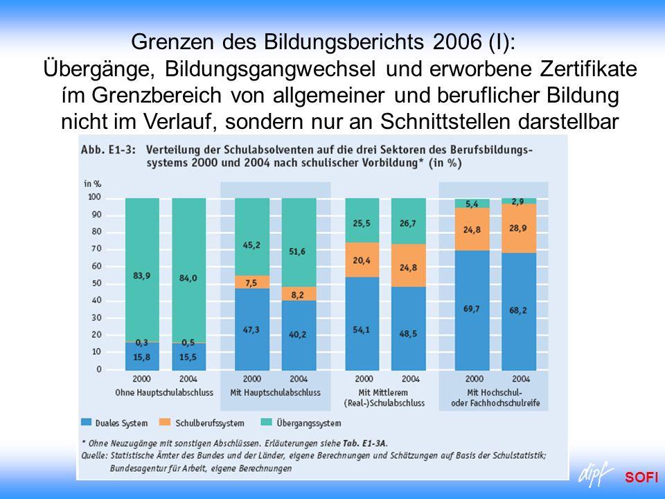 Grenzen des Bildungsberichts 2006 (I): Übergänge, Bildungsgangwechsel und erworbene Zertifikate ím Grenzbereich von allgemeiner und beruflicher Bildung nicht im Verlauf, sondern nur an Schnittstellen darstellbar