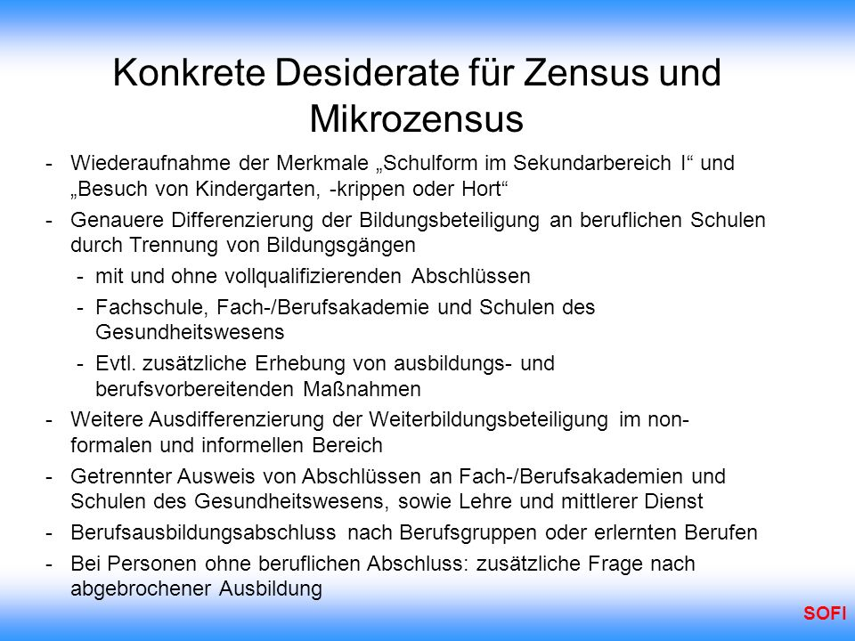 Konkrete Desiderate für Zensus und Mikrozensus
