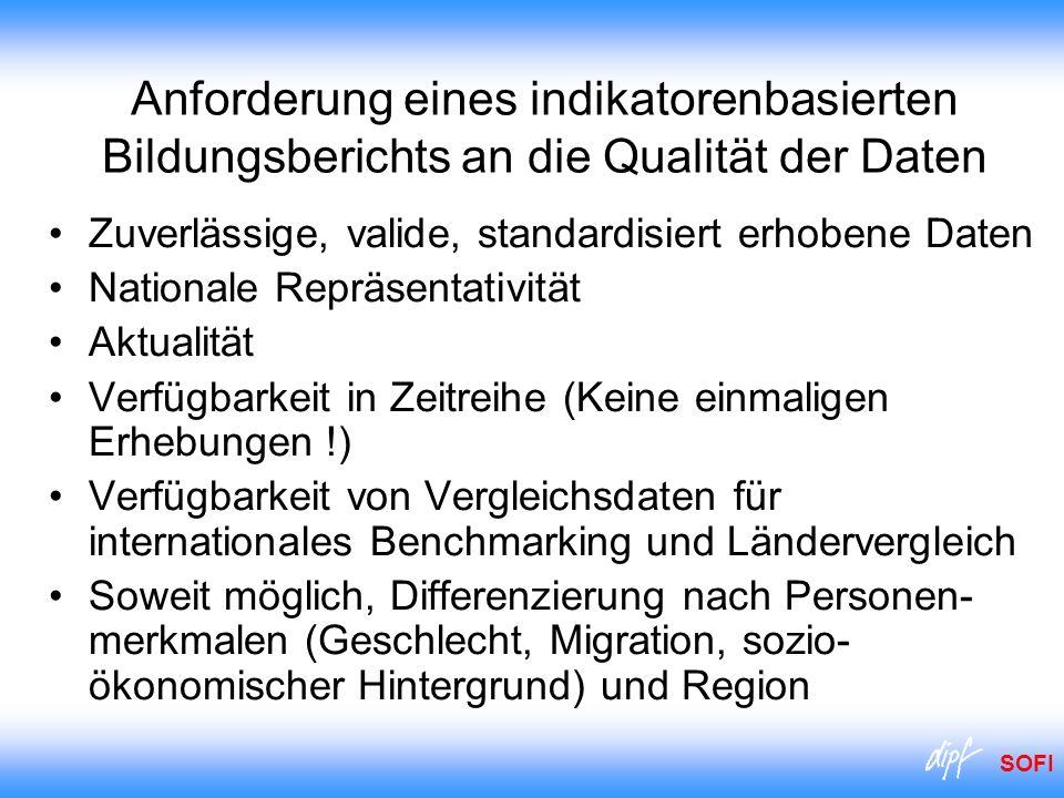 Anforderung eines indikatorenbasierten Bildungsberichts an die Qualität der Daten