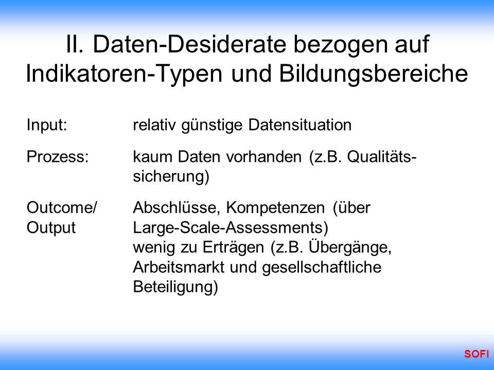 II. Daten-Desiderate bezogen auf Indikatoren-Typen und Bildungsbereiche