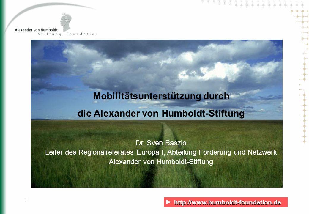 Mobilitätsunterstützung durch die Alexander von Humboldt-Stiftung