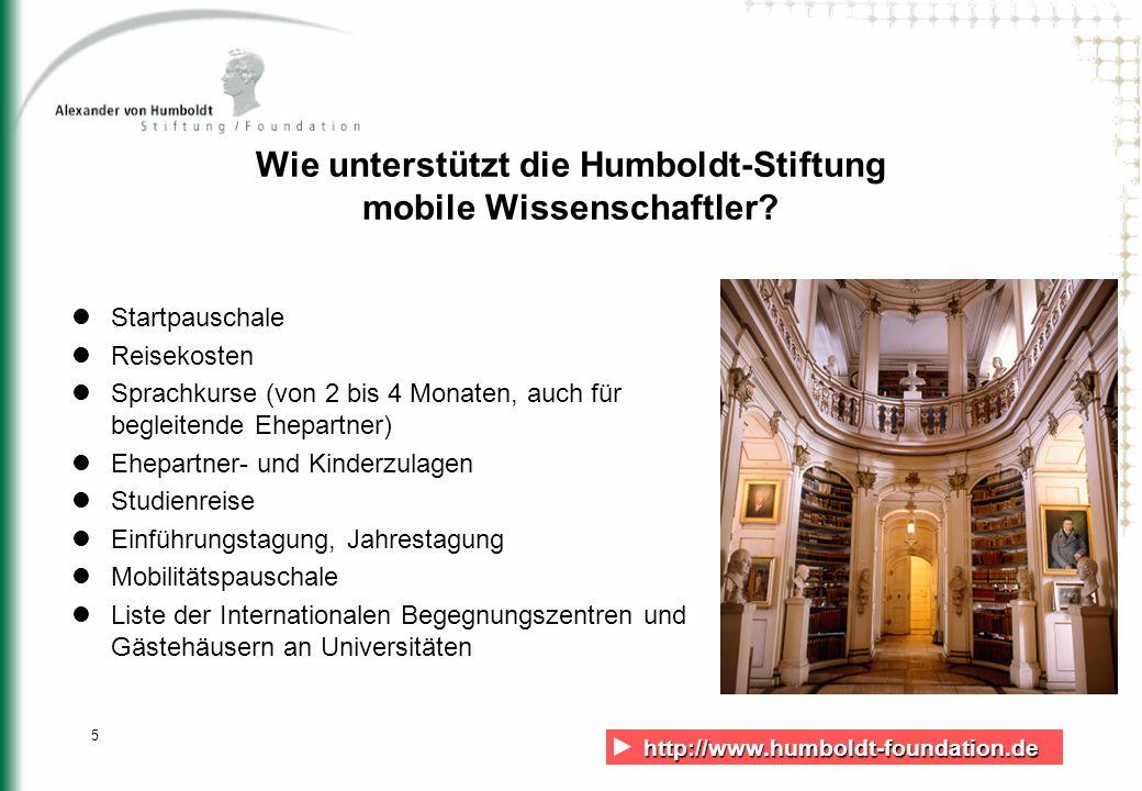 Wie unterstützt die Humboldt-Stiftung mobile Wissenschaftler
