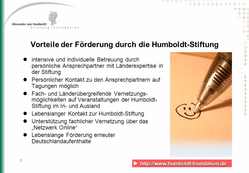 Vorteile der Förderung durch die Humboldt-Stiftung