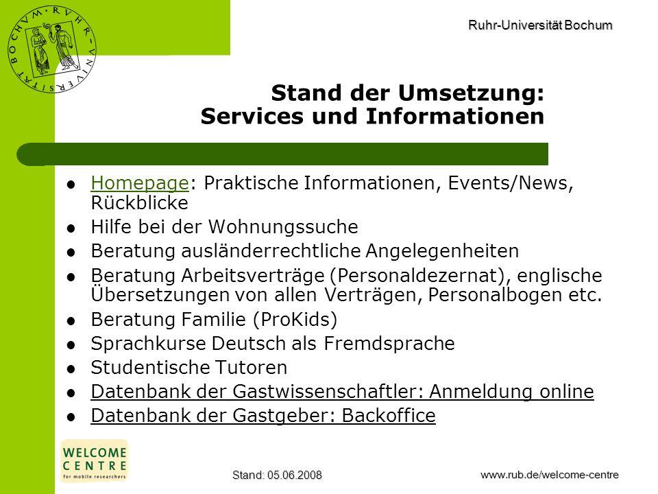 Stand der Umsetzung: Services und Informationen