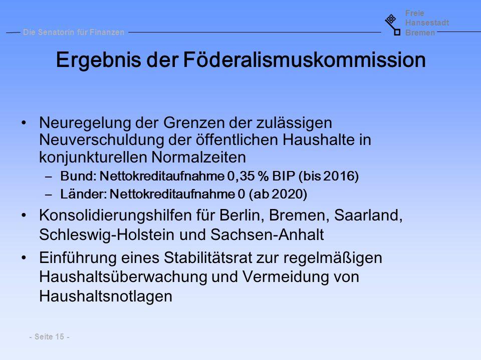 Ergebnis der Föderalismuskommission