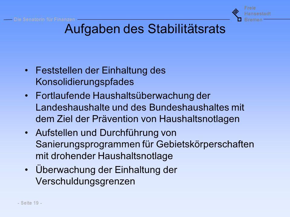 Aufgaben des Stabilitätsrats