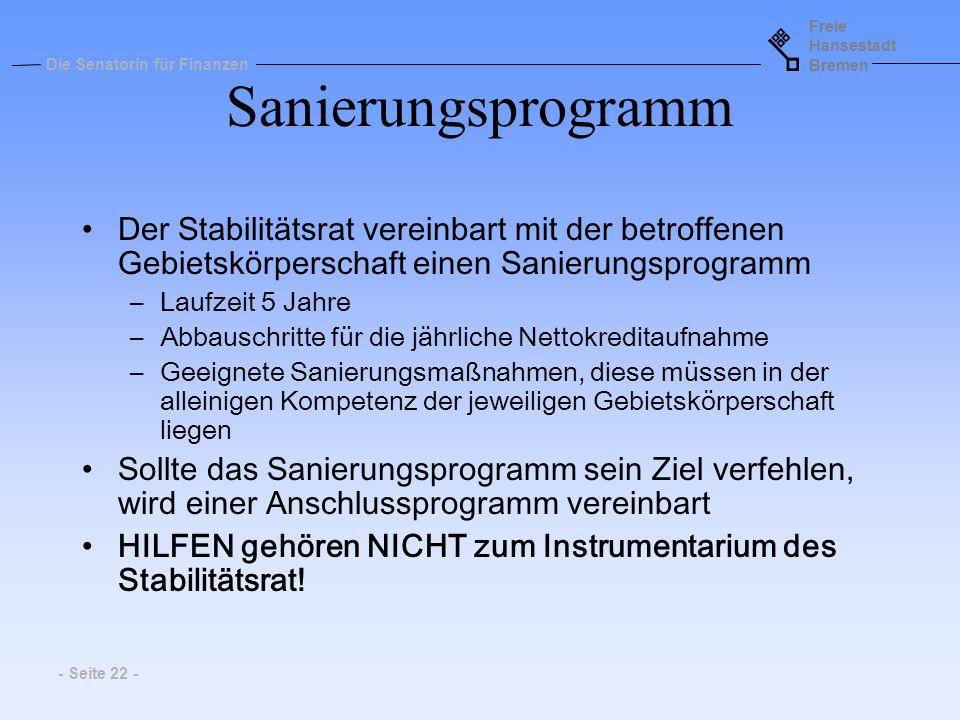 Sanierungsprogramm Der Stabilitätsrat vereinbart mit der betroffenen Gebietskörperschaft einen Sanierungsprogramm.