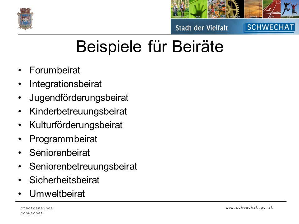 Beispiele für Beiräte Forumbeirat Integrationsbeirat