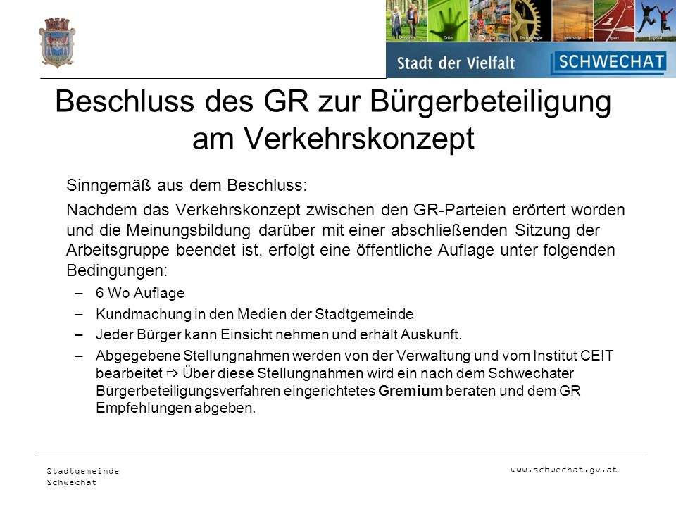Beschluss des GR zur Bürgerbeteiligung am Verkehrskonzept