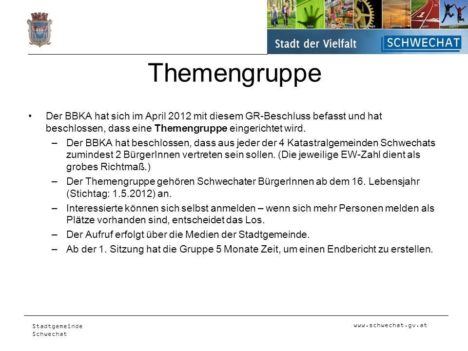 ThemengruppeDer BBKA hat sich im April 2012 mit diesem GR-Beschluss befasst und hat beschlossen, dass eine Themengruppe eingerichtet wird.