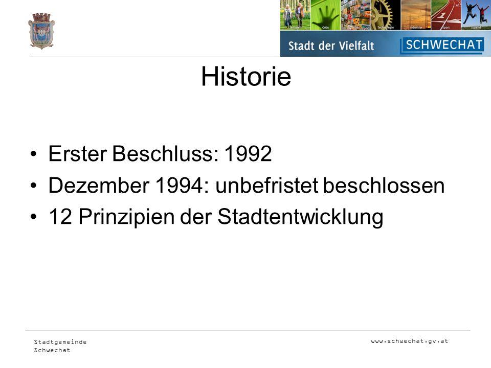 Historie Erster Beschluss: 1992 Dezember 1994: unbefristet beschlossen