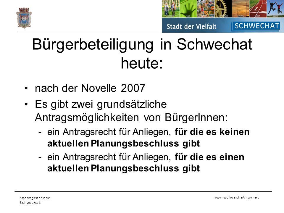 Bürgerbeteiligung in Schwechat heute: