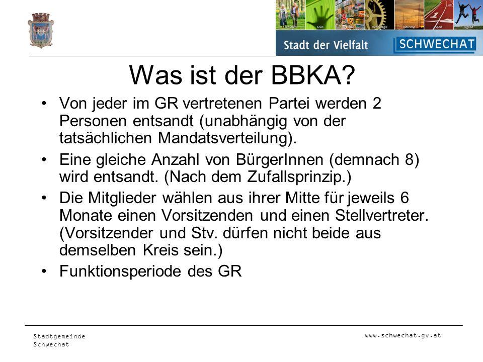 Was ist der BBKA Von jeder im GR vertretenen Partei werden 2 Personen entsandt (unabhängig von der tatsächlichen Mandatsverteilung).