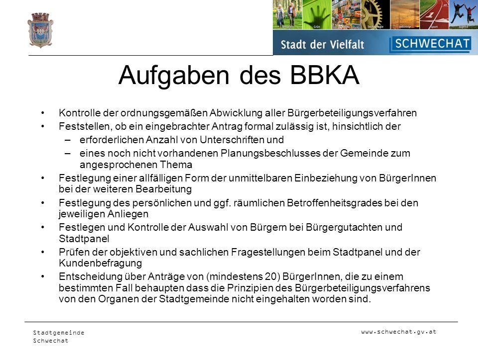 Aufgaben des BBKA Kontrolle der ordnungsgemäßen Abwicklung aller Bürgerbeteiligungsverfahren.