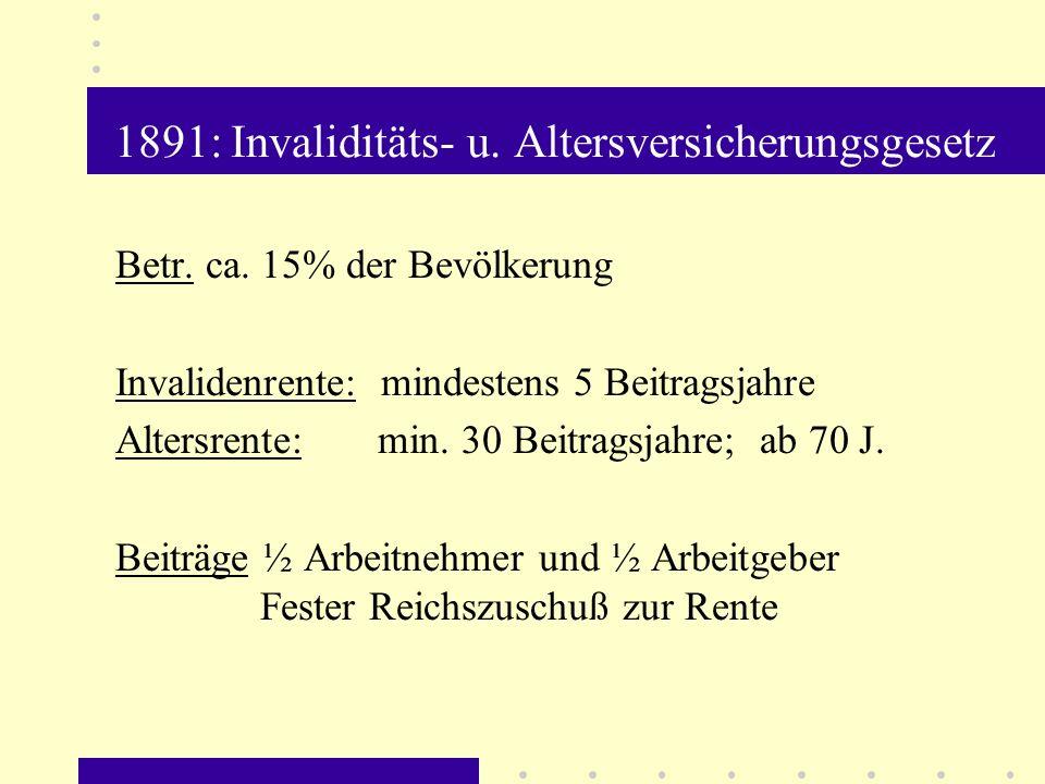 1891: Invaliditäts- u. Altersversicherungsgesetz
