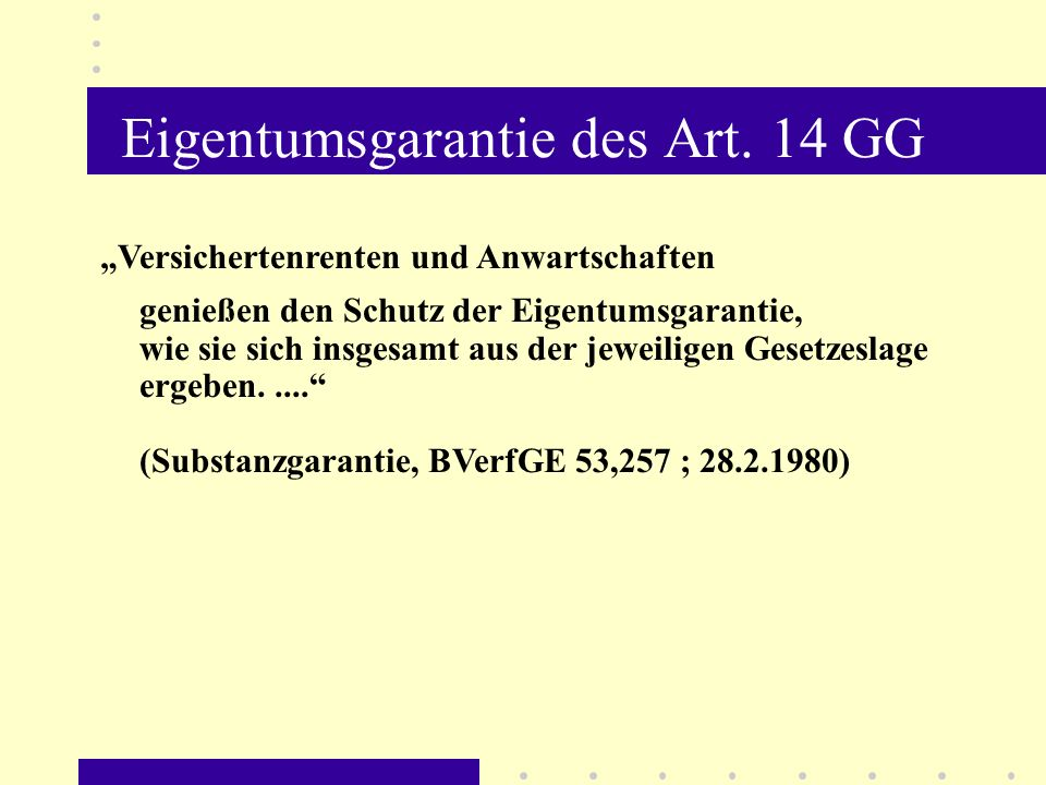 Eigentumsgarantie des Art. 14 GG